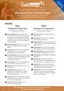 Die bayerischen Vertriebstage - Agenda Tag 5 und 6