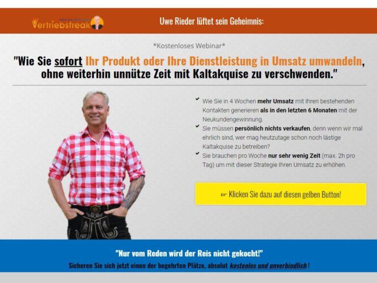 Sofort Umsatz ohne Kaltakquise: Uwe Rieder, der bayerische Vertriebsfreak